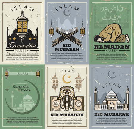 Islam religious holidays, Ramadan Kareem and Eid Mubarak greeting cards. Vector Muslim mosque in Mecca, crescent moon and star with Arabic religious calligraphy on Hamsa hand