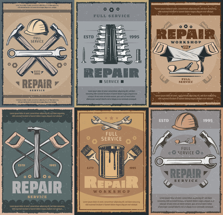 Repair work tools and carpentry service, retro design. Vector worker safety helmet, wrench or spanner and hammer, paint brush and woodwork saw with grinder. Tool workshop