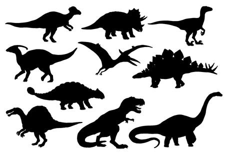 Dinosauri e icone di mostri dino giurassici. Silhouette vettoriali di triceratopo o T-rex, brontosauro o pterodattilo e stegosauro, pteranodonte o ceratosauro e parasaurolophus rettile