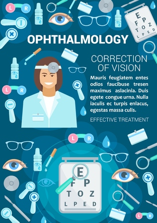 Ophthalmology or vision correction medical clinic. Vector ophthalmologist doctor, eye diagnostics and treatment items of glasses, optical test and lenses with dropper and pills Illustration
