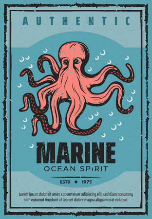 Octopus underwater monster, seafarer tour adventure. Vector vintage nautical design of marine travel and sea or ocean spirit 일러스트