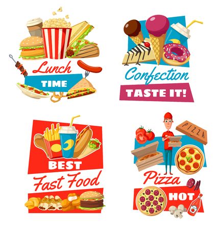 Fast food and pastry icons with pizza or cheeseburger and hamburger. Popcorn and soda drinks, ice cream and cake or doughnut, hot dog and french fries. Doner and sandwich, barbecue and coffee vector