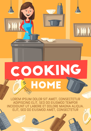 Home cooking, cartoon housewife woman on kitchen with utensils. Vector kitchenware, saucepan or frying pan on stove, dishwasher and grater with whisk and ladle or mixer