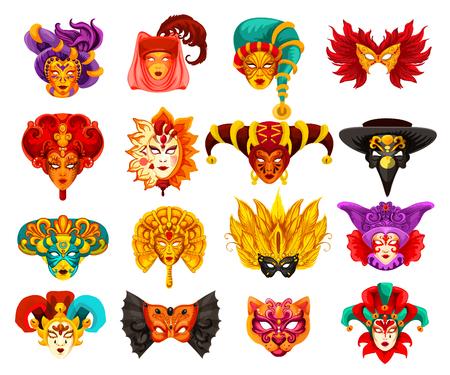 Maschere veneziane di carnevale, tradizionale festa in maschera di Venezia. Maschere vettoriali di volto umano animale o uccello e mistero con velo, piume o ornamento modello arlecchino. Tema del teatro o del martedì grasso
