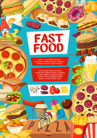 Fast food poster with frame of takeaway dishes. Hamburger, hot dog and sandwich, pizza, french fries and nuggets, donut and coffee, grilled sausage and taco, burrito and ice cream for menu vector Illustration