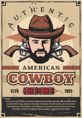 American cowboy in hat retro poster with crossed revolvers and dynamite. Brutal western criminal or bandit with beard and vintage pistols. Male characters head from wild west and weapon vector