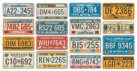 Car license retro cards official numbers for vehicle registration in USA states. Metal sign boards automobile plates with digits and letters, Nebraska and Alabama, Wichita and Texas, Colorado and Utah