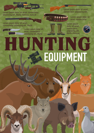 Hunting equipment for hunt sport retro poster with weapon and prey. Crossbow and rifle, knives and gun, bullets and rubber boots. Deer and bear, moose and wolf, boar and fox, goat and duck vector Illustration