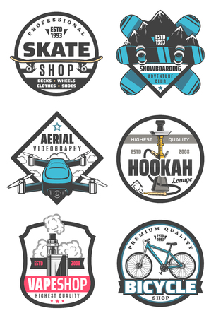 Skate shop and snowboarding, aerial videography and hookah, vape store and bicycle icons with transport and smoking devices or gadget. Entertainment or amusement and active pastime items vector