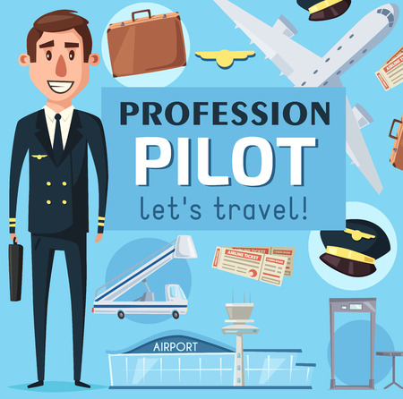 Pilot profession hiring poster man in uniform and airplane vector. Aircraft for flight, travel suitcase and captain cap, passenger ladder and security check scanner. Airport building and pass board Stock Vector - 109367894
