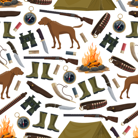 Hunting equipment and hunter ammo seamless pattern. Vector background of hunter rifle gun, hunting dog, rubber boots and compass, pocketknife and camp tent with bullets and horn 向量圖像