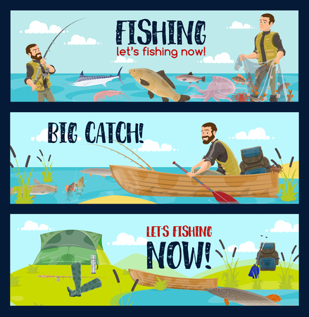 Fishing sport tours or fisherman tackles and equipment shop. Vector cartoon fisher man in rubber boat on lake or sea with rod for fish catch Illustration