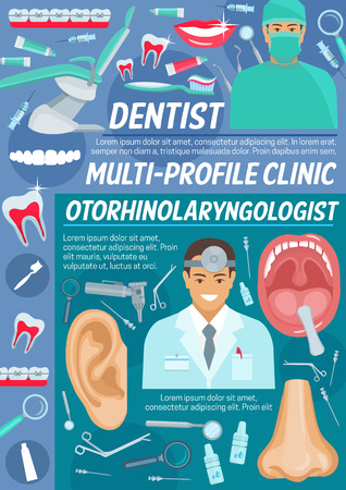 Dental and otolaryngology clinic, diagnostics and treatment. Vector dentist and otolaryngologist doctor, human organs, medical otoscope, syringe and catheter, tooth implants and orthodontic braces