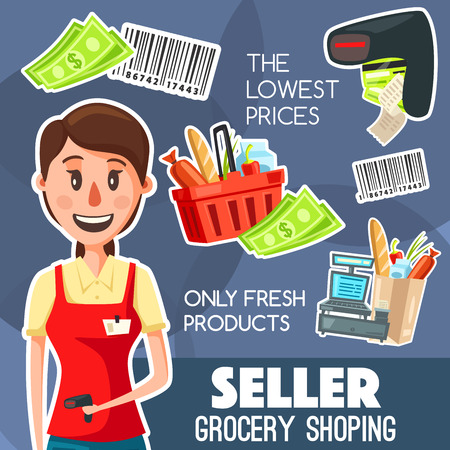 Shop seller or cashier professional poster for grocery shopping, purchases on cash desk. Vector of basket with products, barcode and cash or money banknotes, vendor and scanner for check receipt