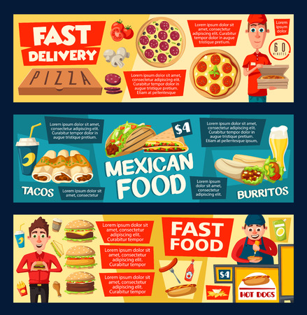 Pizza and fast food burgers, sandwiches express delivery. Italian pizzeria restaurant or bistro cafe. Vector fries, soda drink and hot dog with burrito or doner