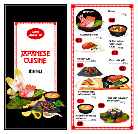 Japanese cuisine food menu. Misosir and sashimi, grilled salmon with teriyaki and chicken liver, perch bata yaki and scrambled eggs with eel, roll with cucumber and cream of corn soup with crab vector
