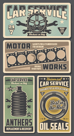 Car repair service retro posters automobile or motor works. Vector tire and wrench, anthers and oil seals, diagnostics, parts replacement and restoration, gaskets for cylinder block for engine vector Illustration