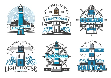 Lighthouse and nautical adventure icons. Rudder wheel and seagulls, marine beacon signal tower on cliff with ribbons. Searchlight tower for ship safe navigation and maritime service, sea signs
