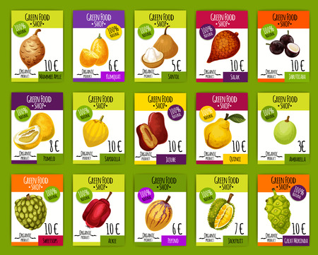 Exotic tropical fruits price cards, farm market. Vector mammee apple, kumquat or santol and organic salak fruit, jabuticaba or pomelo citrus and sapodilla with jujube and quince pear