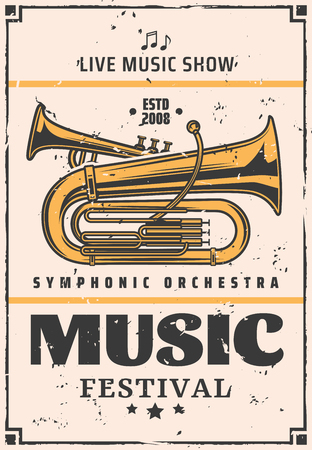 Music festival announcement, symphonic orchestra or jazz night or live music show. Vector vintage musical instrument trumpet, band concert