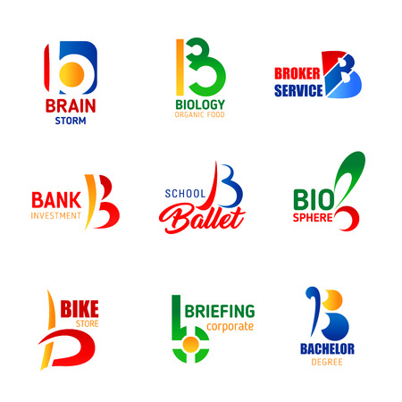 Vector letter B. Brain storm or bio organic food and broker service, bank investment and ballet school or bachelor education and bike store. Letter B corporate identity or company design Illustration