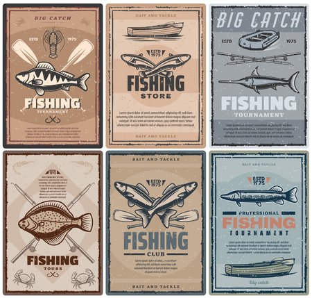 Fishing store, fisher sport tournament and tours. Vector vintage design of fisherman tackles, boat and rod for fish catch of carp, marlin and flounder, crab and pike