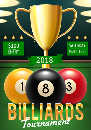 Pool billiards tournament announcement poster. Color balls with numbers and gold trophy cup on green table. Vector billiards team championship, sport game players and gambling competition leaflet Illustration