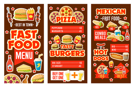 Fast food cafe banners of burgers and hamburgers, hot dog or sandwich and pizza, french fries, chicken and barbecue, burrito and soda, ketchup and mustard, menu templates with meals or snacks vector