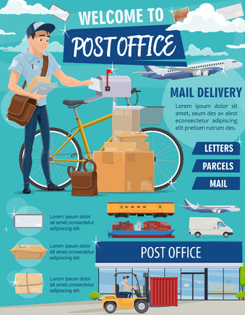 Post mail delivery office poster for postage logistics. Vector of postman or mailman with bicycle delivering letters, envelopes and parcels, air and train or truck transport vehicles for shipping Ilustração