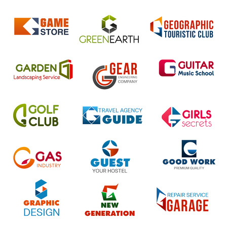 Letter G vector corporate identity, industry or company brand template. Vector abstract G letter in game store, golf club or guest hostel, garage repair service with graphic design agency or studio Vectores