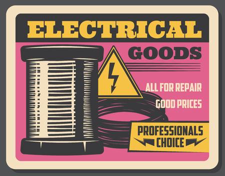 Tienda de artículos eléctricos, publicidad retro de vector. Bobina de cobre de electricidad, cables, señal de alta tensión. Servicio de reparación y herramientas Elerician