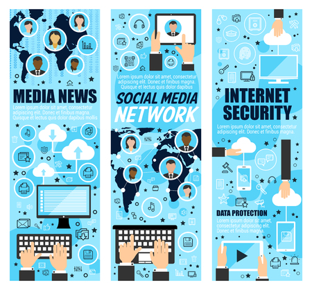 Media news and internet security banners. Social mass media and cloud web data protection. Vector computer and smartphone secure access, global information network