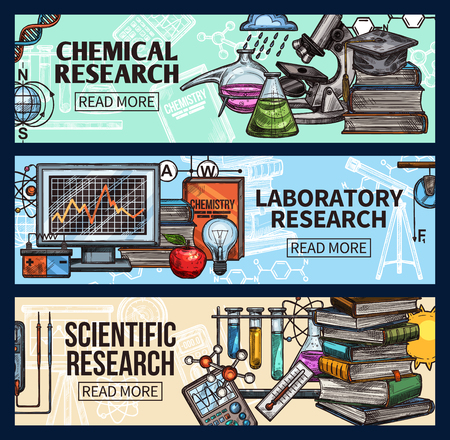 Science research, laboratory equipment vector sketch. Biology and chemistry experiments and tests, genetics DNA molecule, scientist hat and beakers with books, calculator and microscope