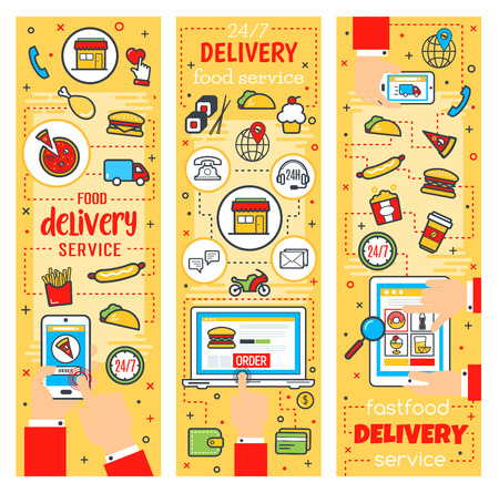 Fast food delivery service, online fastfood restaurant or cafe theme. Vector order delivery and purchase on computer or smartphone. Burgers, drink and dessert, pizza and sandwiches
