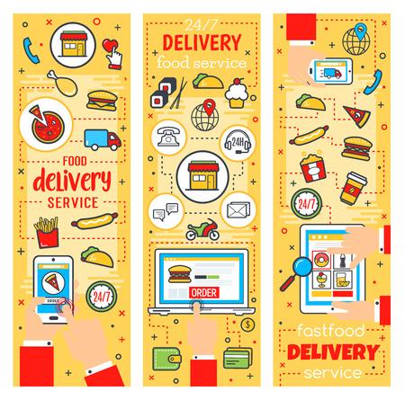Servicio de entrega de comida rápida, restaurante de comida rápida en línea o tema de cafetería. Entrega y compra de pedidos vectoriales en computadora o teléfono inteligente. Hamburguesas, bebida y postre, pizza y bocadillos