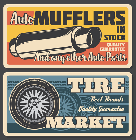 Car service or parts shop retro poster. Vector vintage tire market or exhaust pipe muffler replacement, car service and tuning, vehicle mechanic repair station
