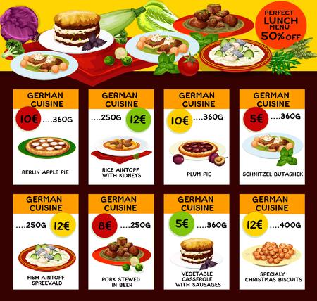 German cuisine food menu, vector. Lunch Berlin apple and plum pie, rice aintopf with kidney and schnitzel butashek, fish spreevald and pork stewed in beer, germany vegetable casserole