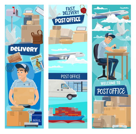 Post mail delivery banners for postage logistics. Vector flat design of postman profession or mailman delivering letters, envelopes and journals parcels by air air and train transport cargo