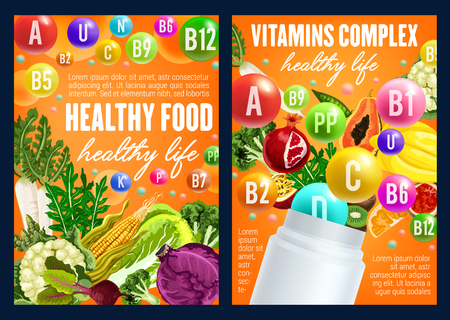 Healthy vegetables and fruits with vitamins. Vector organic food and vitamins capsules or pills in tropical avocado, papaya and cauliflower, cabbage and corn, radish and arugula salad Illustration