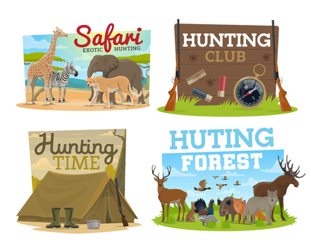 African Safari hunting and hunter club icons wild animals, birds and camping equipment. Vector african elephant, zebra and giraffe, cheetah, elk and deer, wolf and boar, tent with rifle gun and bowler
