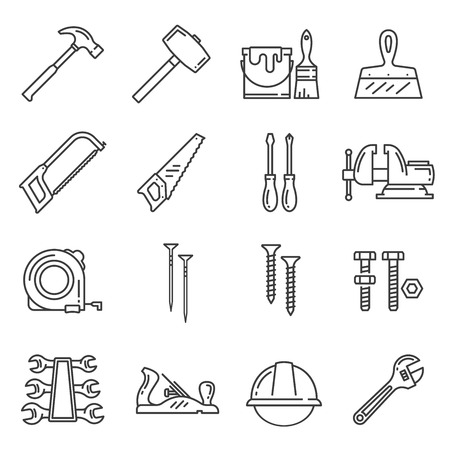 Carpentry and woodwork repair or construction tools. Vector icons of hammer mallet, paint brush or plastering spatula and saw, screwdriver or vise and tape-measure, nails, screws and bolts Illusztráció
