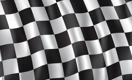 Autorennen oder Motorsport-Rallye-Flagge. Vektor karierter 3D-Wellenmusterhintergrund des Rennsports, des Fahrrad- oder Motocross-Wettbewerbs, des Meisterschaftsdesigns Vektorgrafik