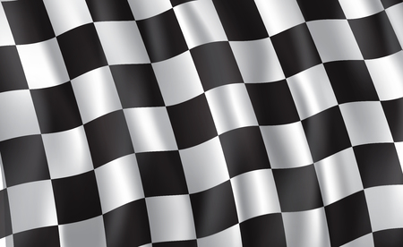 Car race or motorsport rally flag. Vector checkered 3D wavy pattern background of racing sport, bike or motocross competition, championship design Vectores