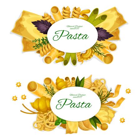 Tradizionale pasta italiana spaghetti, lasagne o ravioli e penne, ristorante di cucina italiana. Vector fettuccine, farfalle e rigatti, gnocchi maccheroni con linguine, basilico e rosmarino Vettoriali