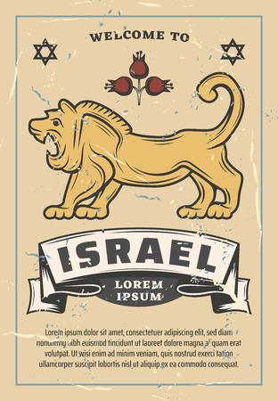 Welcome to Israel retro poster, travel or tourism agency. Vector Jewish lion animal and pomegranate with ribbon and David Star, Judaism religious community Illustration