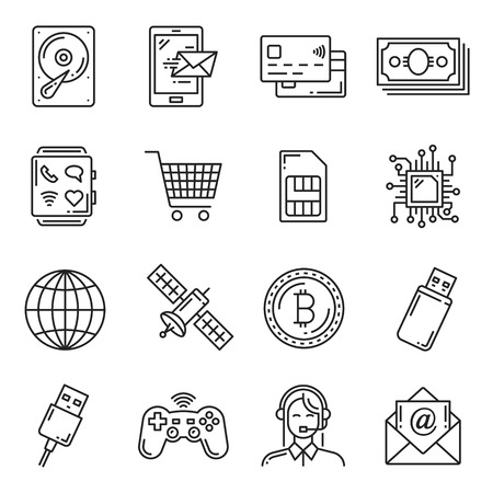 Electronic devices, digital smart gadgets and cryptocurrency technology thin line icons for web store. Vector hard drive, smartphone or credit card and bitcoin, satellite and USB flash Stock Vector - 109486161