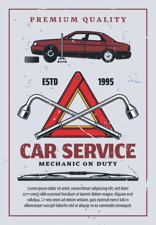 Autoservice retro advertentie, automonteur reparatie en garage station. Vector vervanging van voertuigbanden of pompen op krik, rode waarschuwingsdriehoek en moersleutel