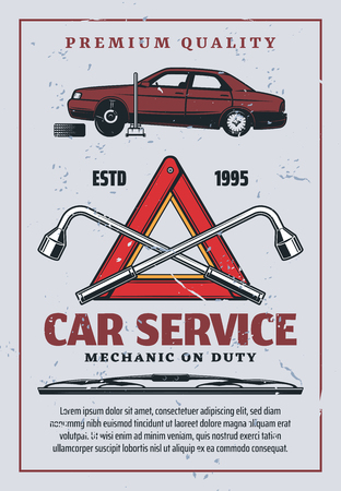 Car service retro advertisement, auto mechanic repair and garage station. Vector vehicle tire replacement or pumping on jack, warning red triangle and lug wrench