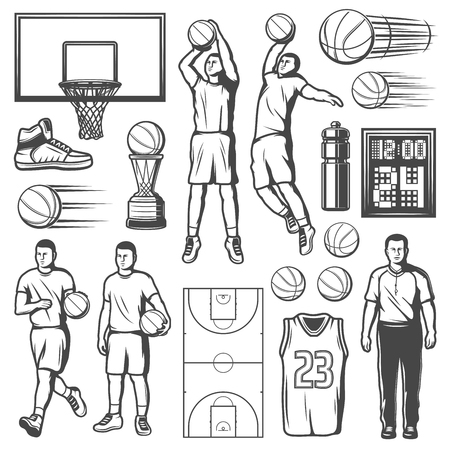 Iconos, jugadores y equipos del juego del deporte del baloncesto. Vector aislado pelota y red de baloncesto, premio de copa de campeonato, árbitro con silbato y zapatillas o chaleco de camisa y marcador
