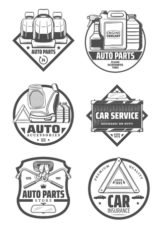 Car service store and spare parts shop icons. Vector vehicle driver seats and upholstery cleaning, engine chemicals and oils, radiator replacement and tow or lug wrench for tire replace Ilustração